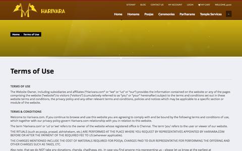 Screenshot of Terms Page harivara.com - Terms of Use | Harivara Pooja Services - captured Oct. 2, 2014
