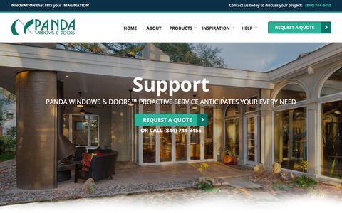 Screenshot of Support Page panda-windows.com - Support | Panda Windows & Doors - captured July 28, 2018