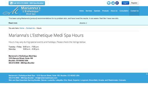 Screenshot of Hours Page mariannaskincare.com - Hours - Marianna's L'Esthetique Medi Spa - captured Feb. 4, 2016
