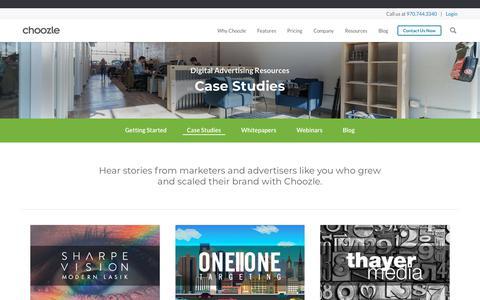 Screenshot of Case Studies Page choozle.com - Case Studies | Choozle: Digital Advertising Made Easy™ - captured Aug. 20, 2019