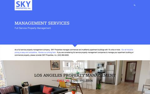 Screenshot of Services Page skypropertiesinc.com - Services | SKY Properties, Inc. - captured July 13, 2016