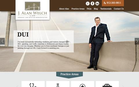 Screenshot of Home Page jalanwelchlaw.com - Brunswick Personal Injury & Divorce Lawyer | J. Alan Welch - captured Sept. 30, 2014