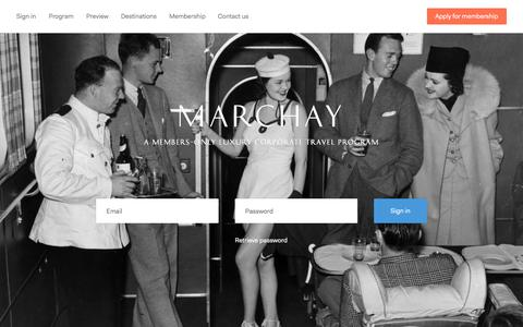 Screenshot of Home Page marchay.com - Marchay — Members-only corporate travel program - captured Sept. 30, 2014