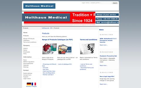 Screenshot of Products Page holthaus.eu - Products - holthaus.de - EN - captured Oct. 1, 2014