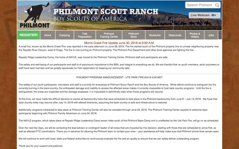 Screenshot of Home Page philmontscoutranch.org - Philmont Scout Ranch - captured June 30, 2018