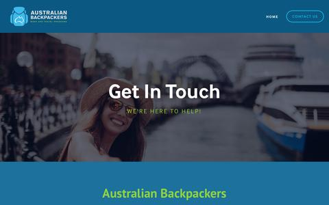 Screenshot of Contact Page australianbackpackers.net - Contact Us — Australian Backpackers - captured Oct. 9, 2017