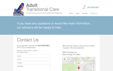 Screenshot of Contact Page adulttransitionalcare.com - Adult Transitional Care   Contact Us for a Free Home Care Consultation - captured Oct. 7, 2017