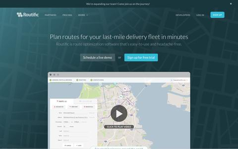 Screenshot of Home Page routific.com - Route Optimization, Delivery Route Planner – Routific - captured July 25, 2016