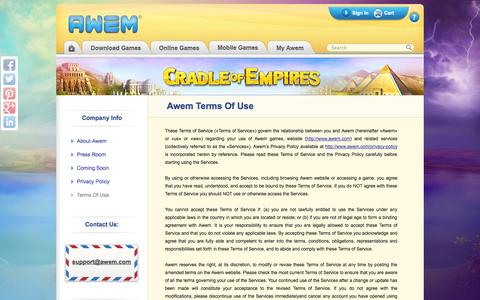 Screenshot of Terms Page awem.com - Terms Of Use | Awem Games - captured Nov. 4, 2014