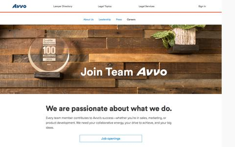 Screenshot of Jobs Page avvo.com - Careers at Avvo - captured Oct. 21, 2015
