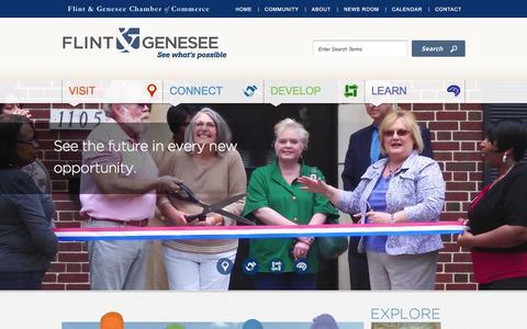 Screenshot of Home Page flintandgenesee.org - Flint & Genesee Chamber of CommerceFlint & Genesee Chamber of Commerce - captured Oct. 6, 2014