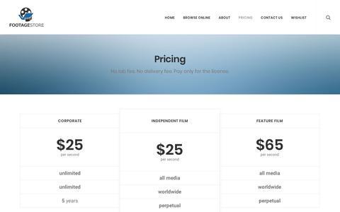 Screenshot of Pricing Page footagestore.net - Pricing - footagestore.net - captured Sept. 24, 2018