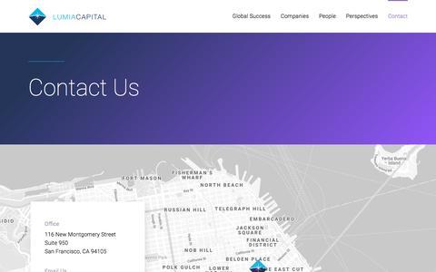 Screenshot of Contact Page lumiacapital.com - Contact : Lumia Capital - captured July 24, 2018