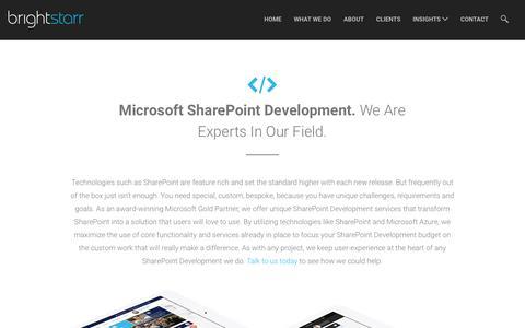 Screenshot of brightstarr.com - Microsoft SharePoint Development Services for SharePoint 2013 & 2016 - captured Jan. 20, 2017