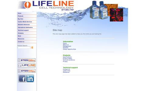 Screenshot of Site Map Page lifelinecelltech.com - Site Map - captured Oct. 2, 2014