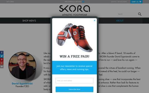 Screenshot of About Page skorarunning.com - SKORA | About - captured Dec. 5, 2015