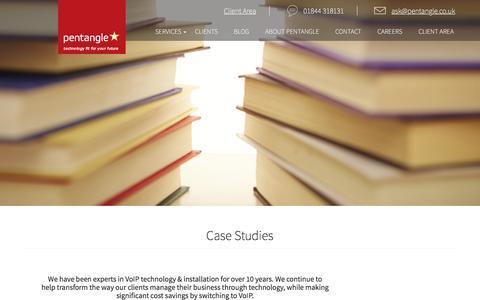 Screenshot of Case Studies Page pentangle.co.uk - Case Studies - Pentangle IT Support - captured Nov. 1, 2016