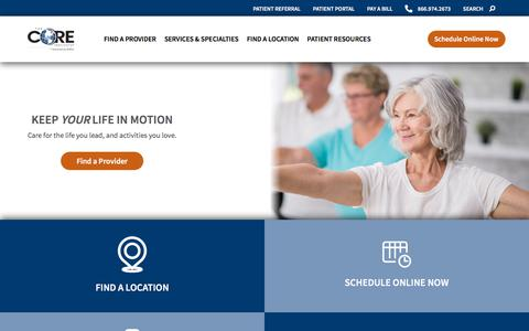 Screenshot of Home Page thecoreinstitute.com - Home • The CORE Institute - captured Oct. 8, 2019
