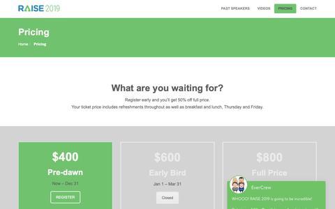 Screenshot of Pricing Page raisebyevertrue.com - Pricing - RAISE CONFERENCE - captured Dec. 6, 2018