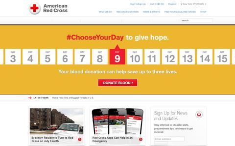 Screenshot of Home Page redcross.org - American Red Cross | Disaster Relief, CPR Certification, Donate Blood - captured July 11, 2014