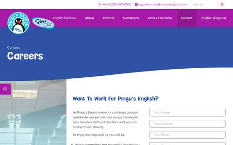 Screenshot of Jobs Page pingusenglish.com - Careers - Pingu's English : Pingu's English - captured July 18, 2018