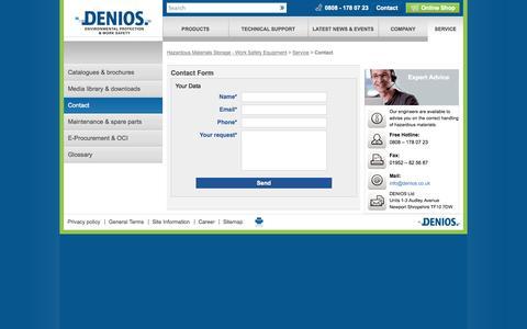 Screenshot of Contact Page denios.co.uk - Contact - DENIOS - captured Sept. 19, 2014