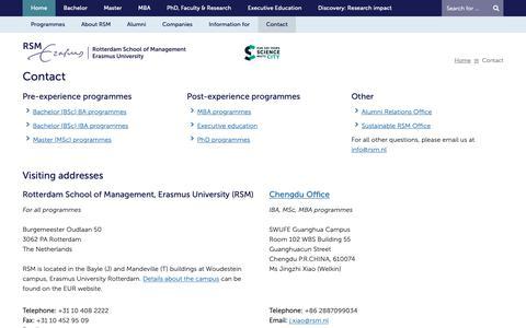 Screenshot of Contact Page rsm.nl - Contact - Home - Rotterdam School of Management, Erasmus University - captured Feb. 5, 2019