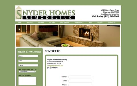 Screenshot of Contact Page snyderhomes.biz - Snyder Homes - captured Oct. 8, 2014