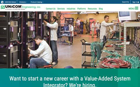 Screenshot of Jobs Page unicomengineering.com - Start a New Career with a Value-Added System Integrator - captured July 27, 2018