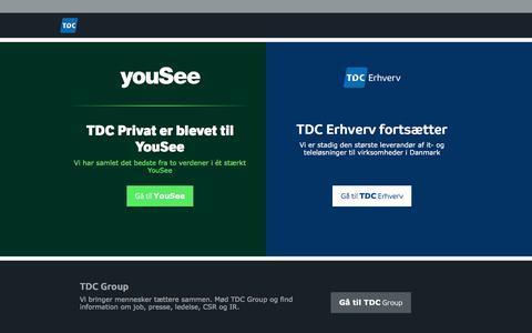 Screenshot of Home Page tdc.dk - Vi har samlet YouSee og TDC Privat - få alt det bedste ét sted - captured Sept. 6, 2016