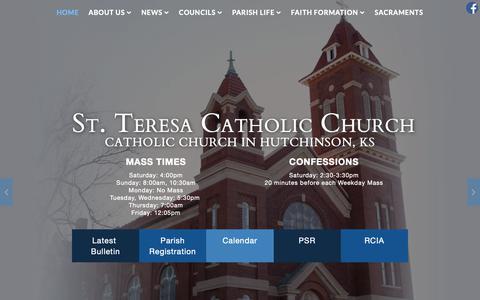 Screenshot of Home Page saintteresahutchinson.com - St. Teresa Catholic Church, Huchinson, KS - captured Oct. 25, 2018