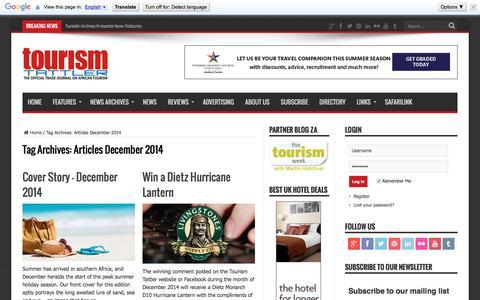 Articles December 2014 | Tourism Tattler