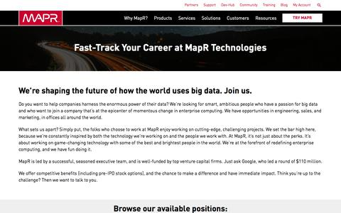 Screenshot of Jobs Page mapr.com - Fast-Track Your Career at MapR Technologies | MapR - captured April 8, 2018