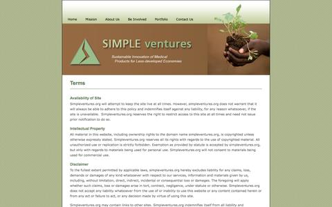 Screenshot of Terms Page simpleventures.org - Terms - Simple Ventures - captured Oct. 27, 2014