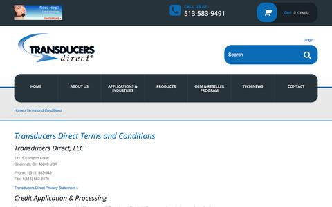 Screenshot of Terms Page transducersdirect.com - Terms and Conditions - Transducers Direct - Pressure Transducers - captured Nov. 8, 2017
