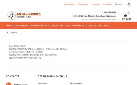 Screenshot of Contact Page german-shepherd-dog-breed-store.com - Contact Us : German Shepherd dog harness, German Shepherd dog muzzle, German Shepherd dog collar, Dog leash, German Shepherd - captured Jan. 31, 2018