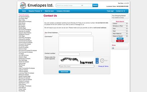 Screenshot of Contact Page envelopes.co.uk - Contact Us | Envelopes Ltd - captured Oct. 3, 2014
