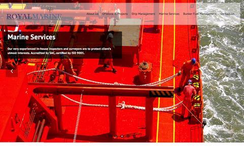 Screenshot of Home Page royalmarine.com.sg - Royal Marine : Ship, Marine, and Engineering Services - captured Sept. 2, 2015