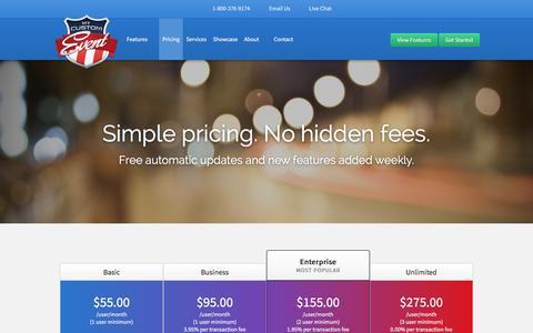 Screenshot of Pricing Page mycustomevent.com - Pricing - My Custom Event - captured Feb. 3, 2016