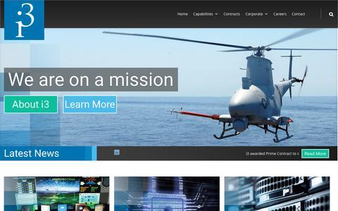 Screenshot of Home Page i3-corps.com - Home - i3 - captured Sept. 2, 2015