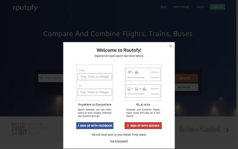 Screenshot of Home Page routofy.com - Routofy.com - Book Cheap Air Tickets, Indian Railways Train timetable and Bus routes reservation - captured Oct. 1, 2015