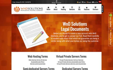 Screenshot of Terms Page wndsolutions.com - Terms Of Service - WnD Solutions - captured Feb. 26, 2016