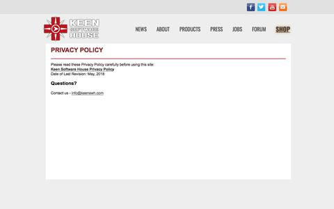 Screenshot of Privacy Page keenswh.com - Privacy Policy - Keen Software House - captured July 1, 2018