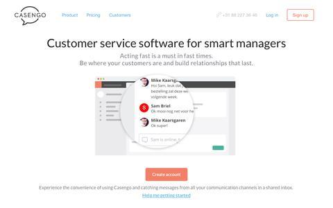 Screenshot of Home Page casengo.com - Casengo | Flexible customer service and helpdesk software - captured Dec. 9, 2016