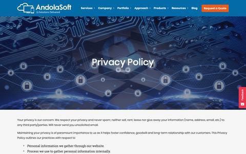 Screenshot of Privacy Page andolasoft.com - Web and Mobile App Development Privacy Policy | Andolasoft - captured Nov. 8, 2018