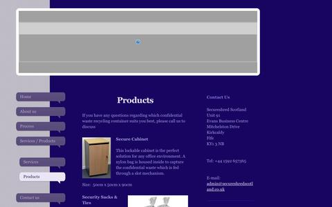 Screenshot of Products Page secureshredscotland.co.uk - Products - Secure Shred Scotland - captured Oct. 3, 2014