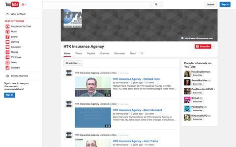 Screenshot of YouTube Page youtube.com - HTK Insurance Agency  - YouTube - captured Oct. 22, 2014