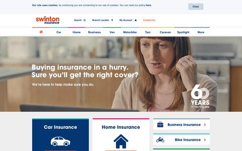 Screenshot of Home Page swinton.co.uk - Car, Home, Bike, Van and Business Insurance | Swinton Insurance - captured Sept. 28, 2017