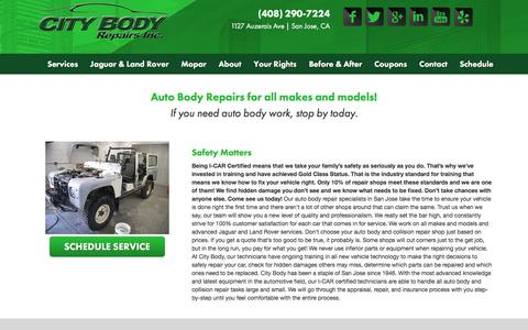 Screenshot of Services Page citybodyrepairs.com - Auto Body Repair Services | San Jose, CA | City Body - captured Dec. 9, 2015