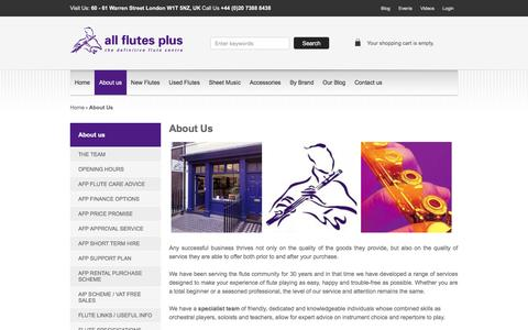 Screenshot of About Page allflutesplus.com - About us - All Flutes Plus | London - captured Dec. 24, 2015